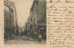 Nevers Rue Du Commerce  Et Place Du Lycée  Pub Singer Convoyeur Train Vers Fermière Chevenon 1903 - Nevers