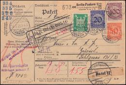 341+343+343+356 Korbdeckel/Adler-Frankatur Auf Paketkarte BERLIN-PANKOW 26.9.24 - Fabriken Und Industrien