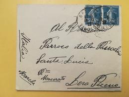 1922 BUSTA FRANCIA FRANCE BOLLO SEMEUSE SEMINATRICE ANNULLO ORANGE PER ITALY ANNULLO LORO PICENO - Storia Postale