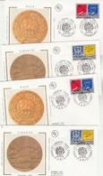 France Lot 4 Enveloppes FDC Sur Soie 1995 Yvert  Série 2941 Et 2942 X 2  EUROPA Paix Liberté Cachets Paris Et Strasbourg - FDC