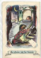 GERMAINE BOURET CARTE A SYSTEME A TIRETTE ET DECOUPIS ANNEE 1952 AU CLAIR DE LA LUNE - Bouret, Germaine