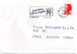 COTES Du NORD - Dépt N° 22 = St BRIEUC RP 1988 = FLAMME Type II = SECAP Illustrée D'un LION ' VILLE DE CONGRES ' - Marcofilia (sobres)