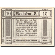 Billet, Autriche, Neuhofen, 10 Heller, Eglise 1920-12-31, SPL Mehl:FS 652IIa - Austria