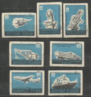 Russia USSR 1960 Year, 7 Matchbox Labels Space - Boites D'allumettes - Etiquettes