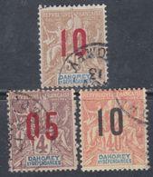 Dahomey N° 34 + 39 / 40  O Partie De Série Type Groupe Surchargés, Les 3 Valeurs Oblitérées Sinon TB - Dahomey (1899-1944)