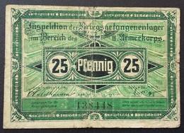 Billet 25 Pfennig LAGERGELD MONNAIE DE CAMP PRISONNIER DE GUERRE Kriegsgefangenenlager CROSSEN - Altri