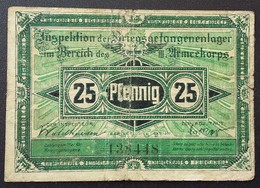 Billet 25 Pfennig LAGERGELD MONNAIE DE CAMP PRISONNIER DE GUERRE Kriegsgefangenenlager CROSSEN - Autres