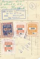 29/431 -- 4 Timbres Diff. Pour ASSURANCE Gare De BRUXELLES TT 1976 S/ Formule De Colis Chemin De Fer ( Carte Perforée) - Chemins De Fer