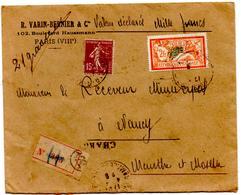 Lettre Chargée Valeur Mille Francs Varin Bernier De Paris (4.04.1929) Pour Nancy Timbres Perforés Perfins - Postmark Collection (Covers)