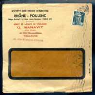 1924   Marcophilie - Pub -  Usines Chimiques Rhone - Poulenc G.manavit à Toulouse  2 Francs   N°-5494 - Reclame