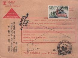"""Lettre Griffée Timbre N° 1316 Oblitéré Avec Griffe """"BELLEVUE LA MONTAGNE"""" Et Cachet Manuel I5 -7 I962 - Storia Postale"""