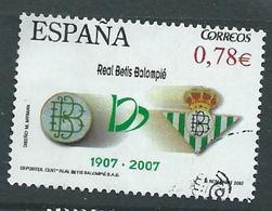 ESPAGNE SPANIEN SPAIN ESPAÑA 2007 FOOTBALL CENTENARIO DEL BETIS CENT USED ED 4341 YV 3939 MI 4334 SG 4268 SC 3509 - 2001-10 Used