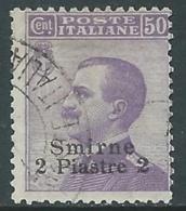 1909-11 LEVANTE SMIRNE USATO EFFIGIE 2 PI SU 50 CENT - RA14-8 - 11. Foreign Offices