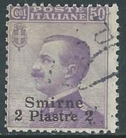 1909-11 LEVANTE SMIRNE USATO EFFIGIE 2 PI SU 50 CENT - RA14-9 - 11. Foreign Offices
