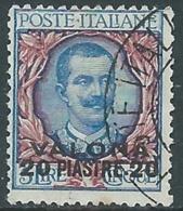 1909-11 LEVANTE VALONA USATO FLOREALE 20 PI SU 5 LIRE - RA14-7 - 11. Foreign Offices