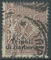 1909 LEVANTE TRIPOLI DI BARBERIA USATO AQUILA 1 CENT - RA14-7 - 11. Foreign Offices