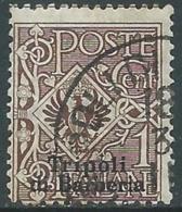 1909 LEVANTE TRIPOLI DI BARBERIA USATO AQUILA 1 CENT - RA14-8 - 11. Foreign Offices