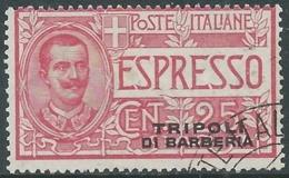 1909 LEVANTE TRIPOLI DI BARBERIA USATO ESPRESSO 25 CENT - RA11-2 - 11. Foreign Offices