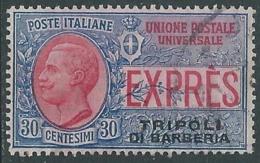 1909 LEVANTE TRIPOLI DI BARBERIA USATO ESPRESSO 30 CENT - RA11-2 - 11. Foreign Offices
