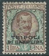 1909 LEVANTE TRIPOLI DI BARBERIA USATO FLOREALE 1 LIRA - RA14-5 - 11. Foreign Offices