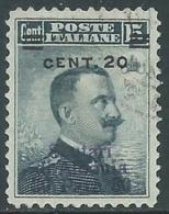 1916 LEVANTE SCUTARI D'ALBANIA USATO EFFIGIE 20 CENT SU 30 PA SU 15 CENT RA14-8 - 11. Foreign Offices