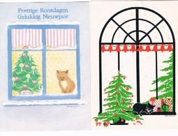 2 Cartes Chat -cat -poes  -katze - Katten