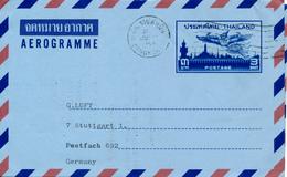 BANGKOK / THAILAND   -   1968 , AEROGRAMME - 3 BAHT - Nach Stuttgart - Thaïlande