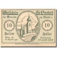 Billet, Autriche, St Leonhard 10 Heller, Eglise, 1920 SPL Mehl:FS 902b - Austria
