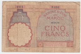 Morocco 5 Francs 14-11- 1941 VG P 23Ab 23A B - Marruecos