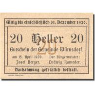 Billet, Autriche, Würnsdorf, 20 Heller, Valeur Faciale, 1920, SPL Mehl:FS1257IIa - Austria