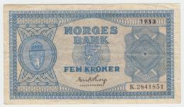 Norway 5 Kroner 1953 VF Pick 25d - Norvegia