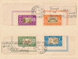 Nederlands Indië - 1934 - AMVJ-serie Met Machinestempel Koopt AMVJ Zegels Op Kaartje Van Batavia Naar Den Haag - Niederländisch-Indien