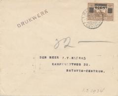 Nederlands Indië - 1934 - 2 Cent Opdruk Op LP-zegel - Enkelfrankering Op Drukwerk Lokaal Batavia - Niederländisch-Indien