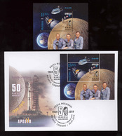 Moldova 2019 50 Years From The First Moon Landing MS Space Apollo 11 S/s**MNH+FDC - Moldova