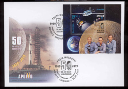 Moldova 2019 50 Years From The First Moon Landing MS Space Apollo 11 FDC - Moldova