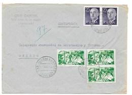 1966 ASTURIAS , CARTA CERTIFICADA DE SAN JUAN DE LA ARENA  A OVIEDO ,ASPH1.  CINE CAPITOL AMBULANTE OVIEDO- PRAVIA - 1961-70 Storia Postale