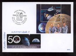 Moldova 2019 50 Years From The First Moon Landing MS Space Apollo 11 Privat FDC №09 - Moldova