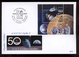 Moldova 2019 50 Years From The First Moon Landing MS Space Apollo11 Privat FDC №08 - Moldova