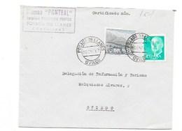 1967 ASTURIAS - CARTA CERTIFICADA DE POSADA DE LLANES A OVIEDO , CINE PONTBAL -ASPH1 - 1931-Today: 2nd Rep - ... Juan Carlos I