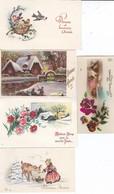 5 Mini-cartes Divers Fantaisie--BONNE ANNEE--voir 2 Scans - Oude Documenten