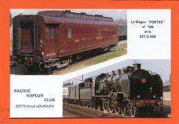 PL/25 WAGON POSTE N° 196  PACIFIC VAPEUR CLUB SOTTEVILLE LES ROUEN SOUVENIR BAPTEME OCTOBRE 1989  Timbre Poste TGV - Chemins De Fer