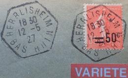 R1934/214 - TYPE SEMEUSE LIGNEE N°221 Seul Sur ✉️ D'HERRLISHEIM à STRASBOURG - VARIETE ➤➤➤ Surcharge Déplacée - Variétés: 1921-30 Lettres & Documents
