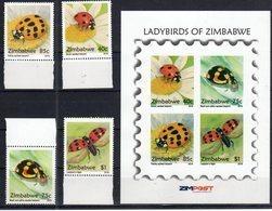 ZIMBABWE , 2018, MNH, INSECTS, LADYBIRDS, 4v+ SHEETLET - Other
