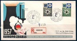 EUR 1957  Pays-Bas FDC Timbres Europa   Sur Lettre Recommandée Sgravenhage 16/09/57 - Europa-CEPT