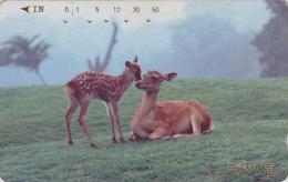 Télécarte Japon / 110-011 - ANIMAL - BICHE DAIM & FAON - HIND DOE Japan Phonecard - HIRSCH KUH - BE 131 - Télécartes
