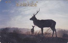 Télécarte Japon / 110-011 - ANIMAL - BICHE DAIM & CERF - DEER & HIND Doe Japan Phonecard - HIRSCH KUH - 132 - Télécartes