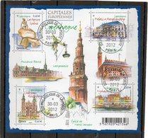 FRANCE    Feuillet De 5 Timbres 0,60 €    2012     Y&T :F4637   Capitales Européennes    Oblitéré - Sheetlets
