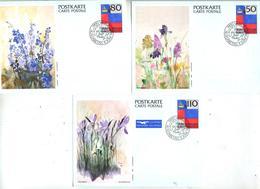 3 Carte Postale Couronne Fdc Illustré Fleur - Stamped Stationery