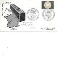 FRANCE FDC N° 1542 CINQUANTENAIRE DES CHEQUES POSTAUX - 1960-1969