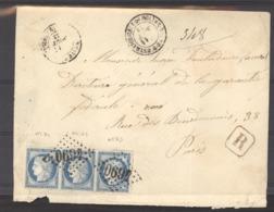 FRX  0767  -  France  :  Yv  60A  (o)  Bande De 3 , GC 4690  Eglise Neuve D' Entraigue - Postmark Collection (Covers)